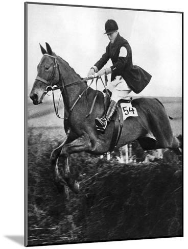 The Prince of Wales Taking a Fence in the Bridge of Guards Challenge Cup Race, C1930S--Mounted Giclee Print