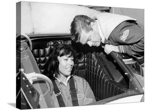 Craig Breedlove Explaining the Controls of 'Spirit of America Sonic I' to His Wife, Lee, C1965--Stretched Canvas Print