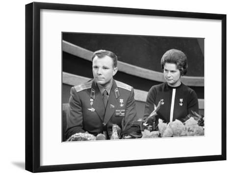 Yuri Gagarin and Valentina Tereshkova, Russian Cosmonauts, 1963--Framed Art Print