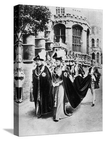 King George V and Queen Mary in the Robes of the Knights of the Garter, Windsor, 1937--Stretched Canvas Print