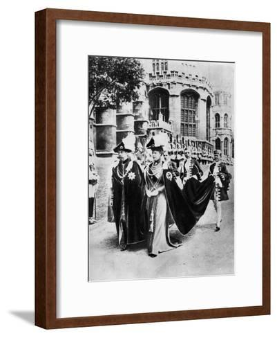 King George V and Queen Mary in the Robes of the Knights of the Garter, Windsor, 1937--Framed Art Print