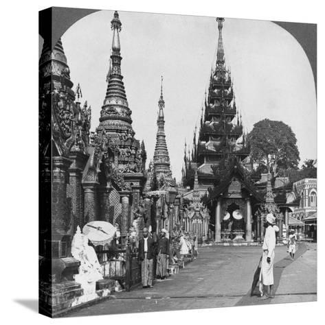 Along the Platform to the Southern Ascent, Shwedagon Pagoda, Rangoon, Burma, 1908--Stretched Canvas Print