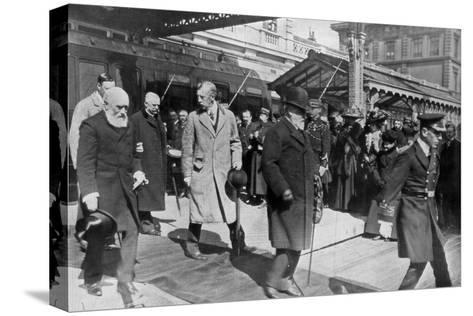 On His Way to His Own Country for the Last Time, King Edward's Return from Biarritz, 1910--Stretched Canvas Print