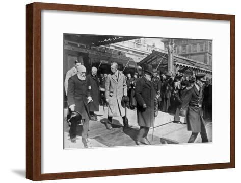 On His Way to His Own Country for the Last Time, King Edward's Return from Biarritz, 1910--Framed Art Print