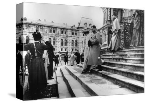 Tsar Nicholas II and Tsarina Alexandra on the Steps of St Basil's Cathedral, Moscow, C1900-C1906--Stretched Canvas Print