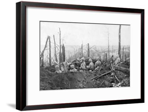 French Soldiers Overlooking German Positions, Battle of Malmaison, 1917--Framed Art Print