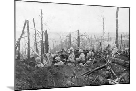 French Soldiers Overlooking German Positions, Battle of Malmaison, 1917--Mounted Giclee Print