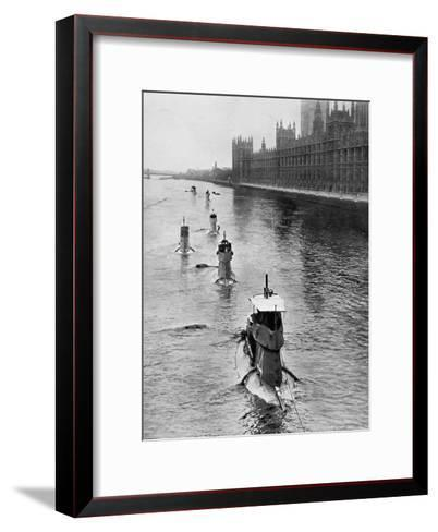 French Submarine 'Saphir' (Q4) and Five Others Moving from Gravesend to London, July 1909--Framed Art Print