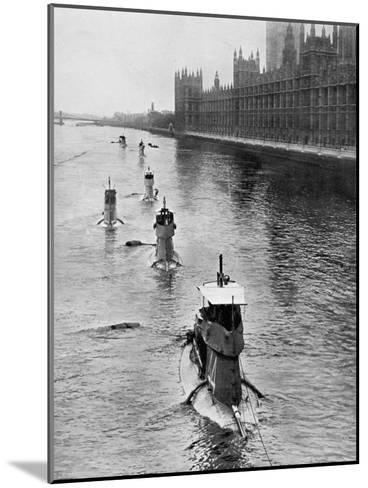 French Submarine 'Saphir' (Q4) and Five Others Moving from Gravesend to London, July 1909--Mounted Giclee Print
