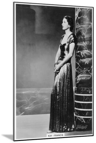 Kay Francis, American Stage and Film Actress, 1938--Mounted Giclee Print