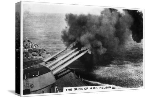 The Guns of the Battleship HMS 'Nelson' Firing, 1937--Stretched Canvas Print