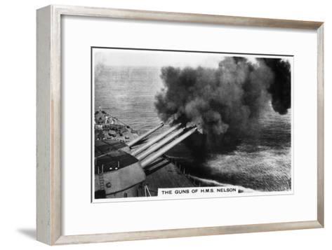 The Guns of the Battleship HMS 'Nelson' Firing, 1937--Framed Art Print