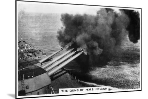 The Guns of the Battleship HMS 'Nelson' Firing, 1937--Mounted Giclee Print