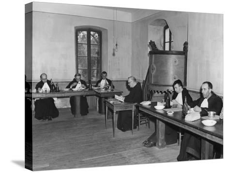 Monks at Dinner in the Refectory, Asile St Leon, France, C1947-1951--Stretched Canvas Print