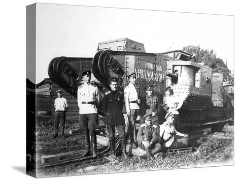 Soldiers of the Volunteer Army before the Tank 'General Drozdovsky, 1919--Stretched Canvas Print