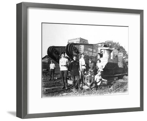 Soldiers of the Volunteer Army before the Tank 'General Drozdovsky, 1919--Framed Art Print