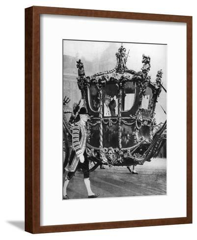 King George V and Queen Mary on their Way to the State Opening of Parliament, C1930S--Framed Art Print