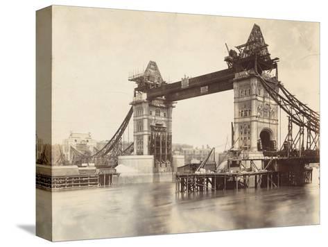 Tower Bridge under Construction, London, C1893--Stretched Canvas Print