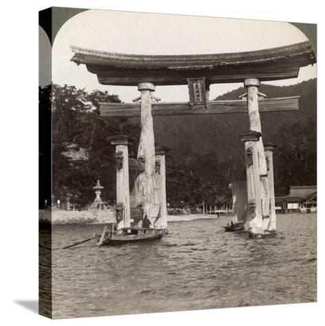 Sacred Torii Gate Rising from the Sea, Itsukushima Shrine, Miyajima Island, Japan, 1904-Underwood & Underwood-Stretched Canvas Print