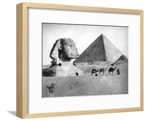 The Sphinx and Pyramid at Giza, Egypt, C1882--Framed Art Print