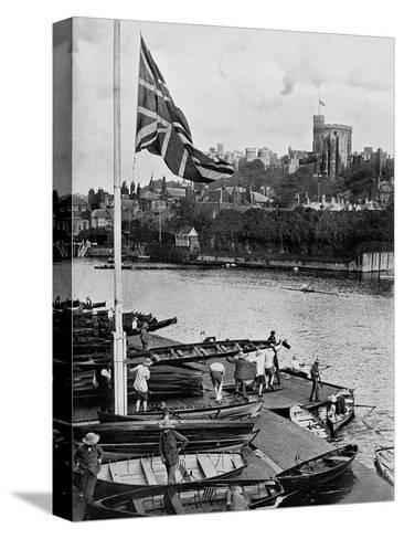 The Union Jack Flying Half Mast at the Eton College Boathouse, Berkshire, 1910--Stretched Canvas Print