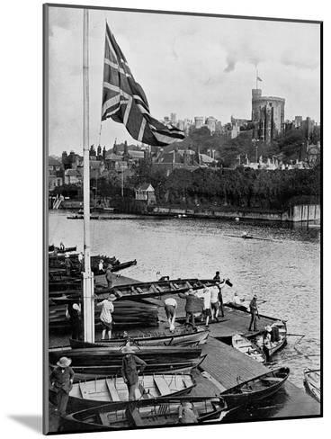 The Union Jack Flying Half Mast at the Eton College Boathouse, Berkshire, 1910--Mounted Giclee Print