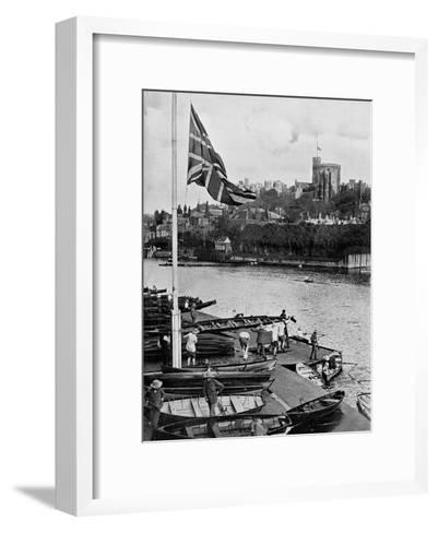 The Union Jack Flying Half Mast at the Eton College Boathouse, Berkshire, 1910--Framed Art Print
