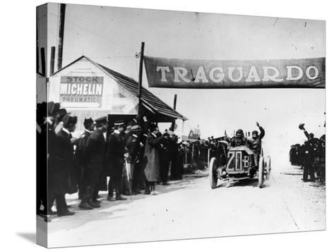 Felice Nazzaro in a Fiat Winning the Targo Florio Race, Sicily, 1907--Stretched Canvas Print