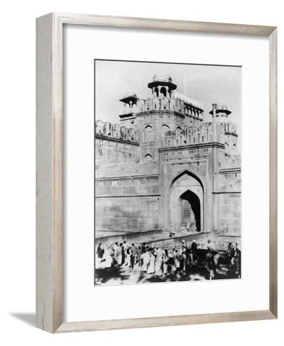 Gateway to the Red Fort, Delhi, India, Late 19th or Early 20th Century--Framed Art Print