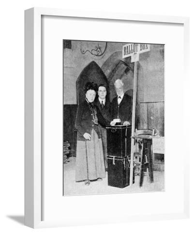 A Woman Recording Her Vote at the Ballot Box, C1922--Framed Art Print