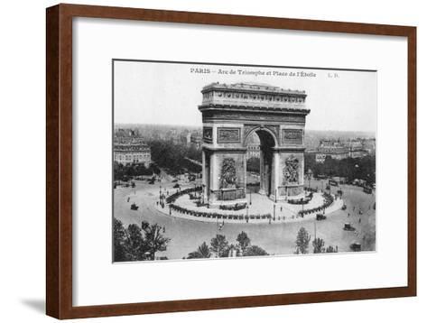 Arc De Triomphe and Place De L'Etoile, Paris, France, Early 20th Century--Framed Art Print