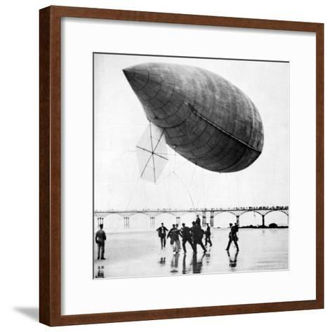 Santos-Dumont's Airship Departing from Trouville, France, 1905--Framed Art Print