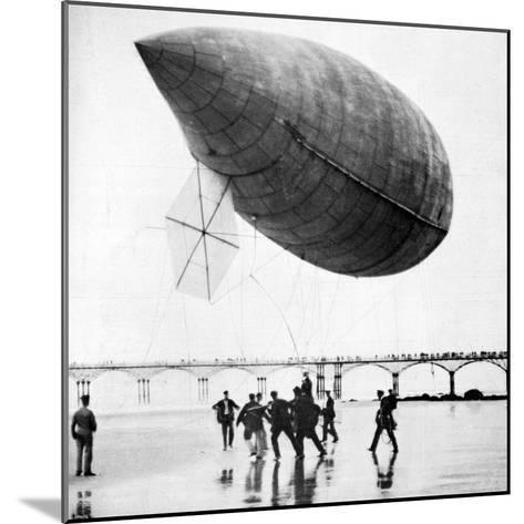 Santos-Dumont's Airship Departing from Trouville, France, 1905--Mounted Giclee Print