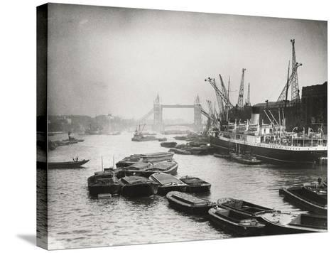 View of the Busy Thames Looking Towards Tower Bridge, London, C1920--Stretched Canvas Print