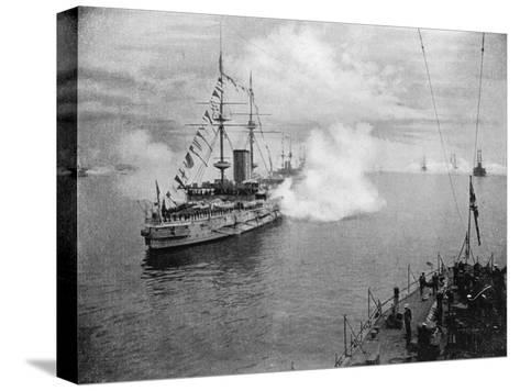 A Salute by the Home Fleet, 1907--Stretched Canvas Print
