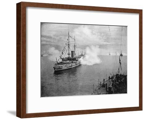 A Salute by the Home Fleet, 1907--Framed Art Print