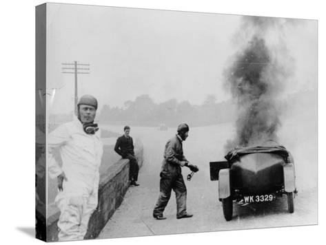 Car on Fire, Brooklands, Surrey, 1928--Stretched Canvas Print