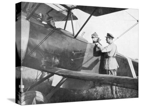 Albert I of Belgium, Leaving by Plane to Visit the Lines of the Yser, C1917--Stretched Canvas Print