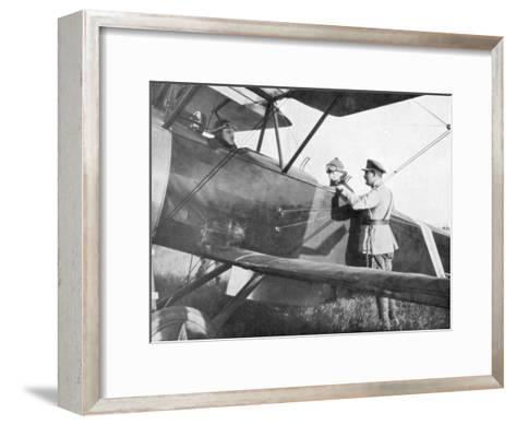 Albert I of Belgium, Leaving by Plane to Visit the Lines of the Yser, C1917--Framed Art Print