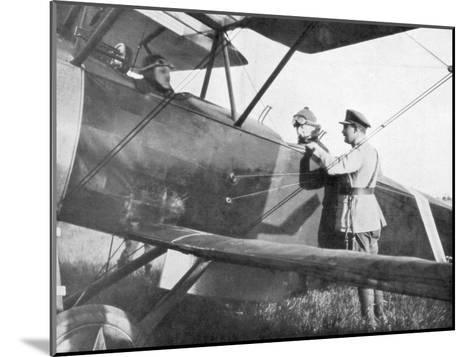 Albert I of Belgium, Leaving by Plane to Visit the Lines of the Yser, C1917--Mounted Giclee Print