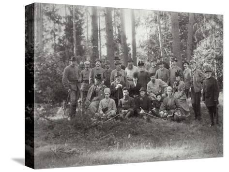 Tsar Alexander III with Family and Friends on a Hunt in the Bialowieza Forest, Russia, 1894--Stretched Canvas Print