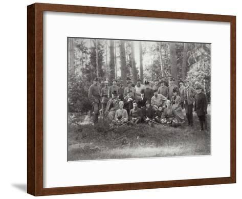 Tsar Alexander III with Family and Friends on a Hunt in the Bialowieza Forest, Russia, 1894--Framed Art Print