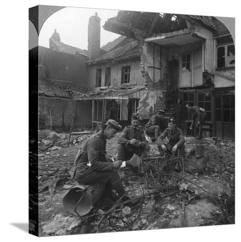 Houses Damaged by German Shellfire, Ypres Salient, Belgium, World War I, C1914-C1918--Stretched Canvas Print