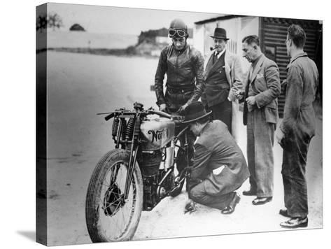 Jimmy Guthrie Riding a Norton, 1930s--Stretched Canvas Print