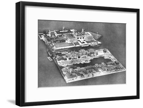 Aerial View of Ellis Island Immigration Station, New York, USA, 1926--Framed Art Print