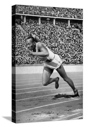 Jesse Owens at the Start of the 200 Metres at the Berlin Olympic Games, 1936--Stretched Canvas Print