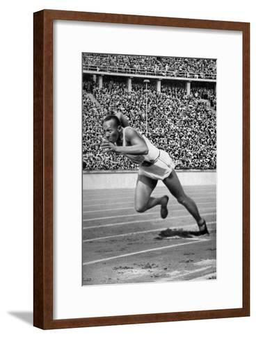 Jesse Owens at the Start of the 200 Metres at the Berlin Olympic Games, 1936--Framed Art Print