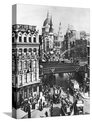 The Spire of St Martin, Ludgate Silhouetted Against the Bulk of St Paul's, London, 1926-1927- Frith-Stretched Canvas Print