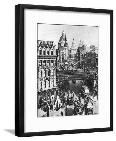 The Spire of St Martin, Ludgate Silhouetted Against the Bulk of St Paul's, London, 1926-1927- Frith-Framed Art Print