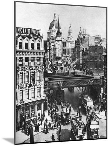 The Spire of St Martin, Ludgate Silhouetted Against the Bulk of St Paul's, London, 1926-1927- Frith-Mounted Giclee Print